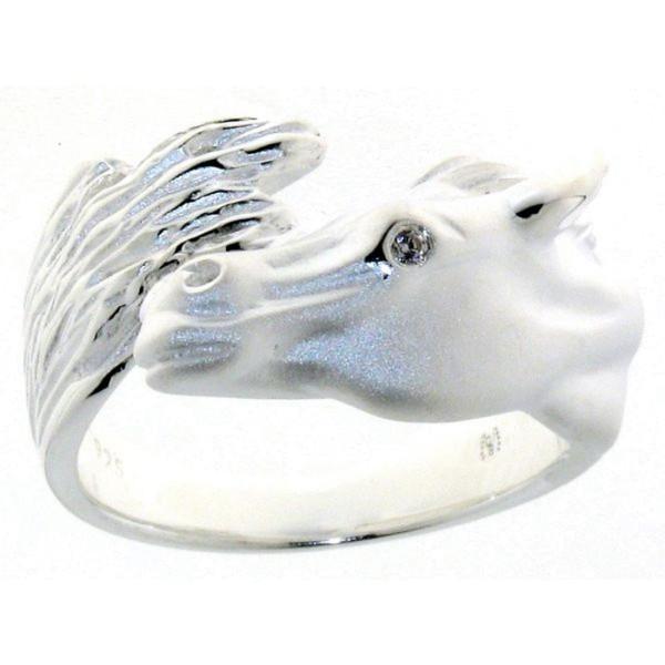 Ring Pferdekopf mit Schweif schwer massiv echt Silber poliert-mattiert mit Zirkonia Auge
