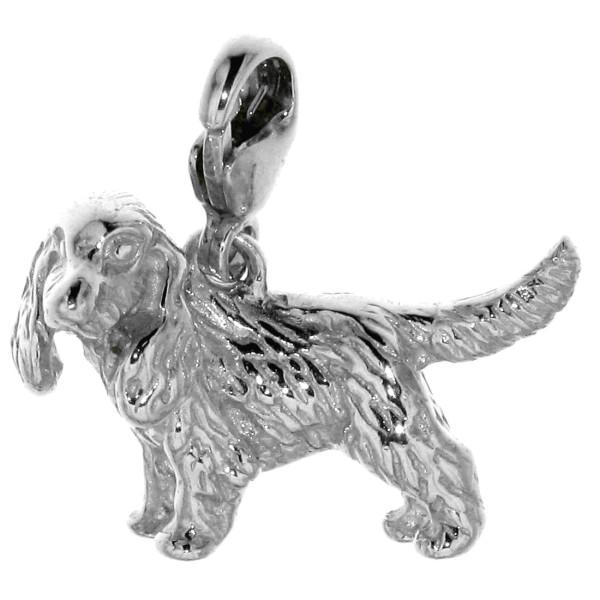 Charm Cocker Spaniel unkupiert Hunderasse massiv echt Silber