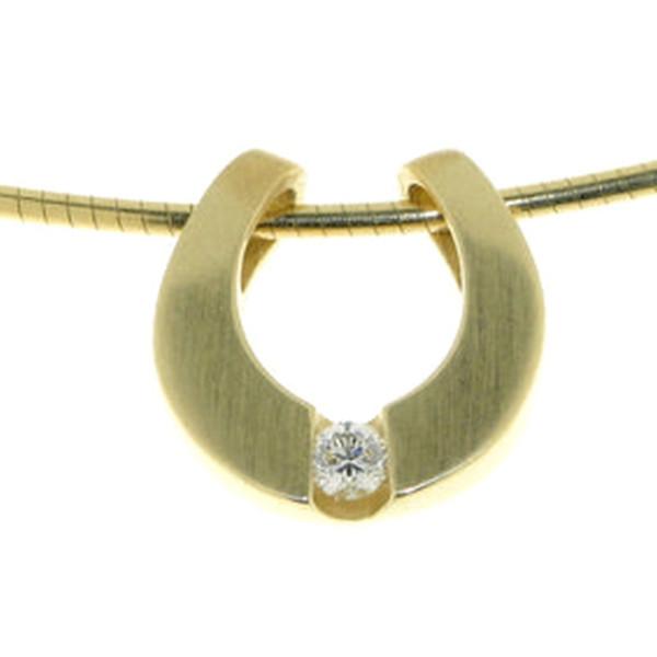 Anhänger modernes Hufeisen mit Diamant