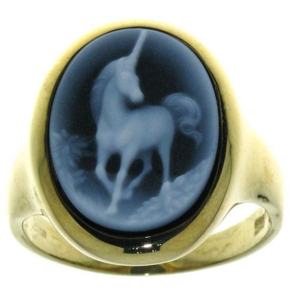 Ring Gemme Achat Einhorn 16 x 12 mm Kamee