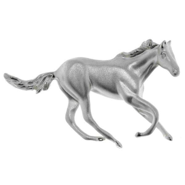 Anhänger schwungvolles Pferd mattiert-poliert echt Silber mit Zirkoniaaugen