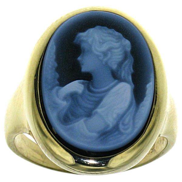 Ring Gemme Achat 18 x 13 mm Frauenbüste mit lockigem Haar Kamee