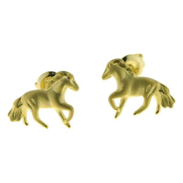 Ohrstecker Pferdchen mattiert-poliert modern massiv echt Silber goldplattiert