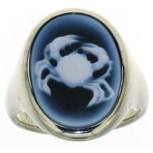 Ring Gemme Achat 18 x 13 mm Sternzeichen Krebs Kamee