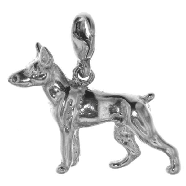 Charm Dobermann Hunderasse massiv echt Silber
