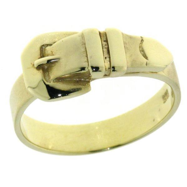 Ring Buckle Gürtelschließe massiv Gelbgold