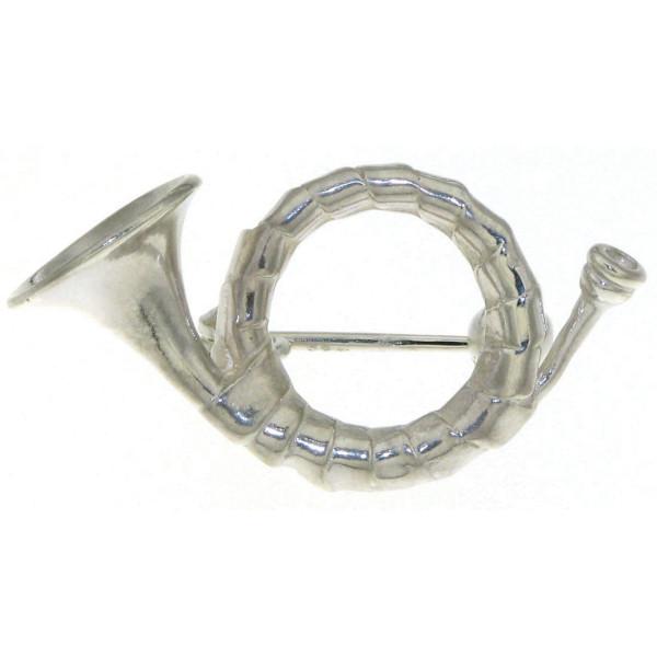 Brosche Jagdhorn Musikinstrument massiv echt Silber