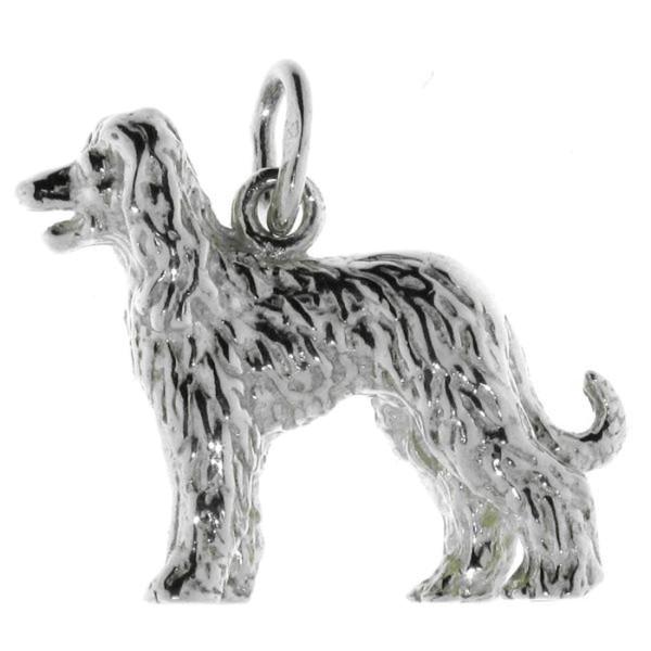 Anhänger Afghane Afghanischer Windhund Hunderasse massiv echt Silber