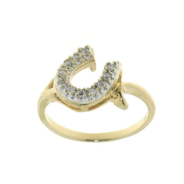 Ring mit schräg versetztem Diamant Hufeisen