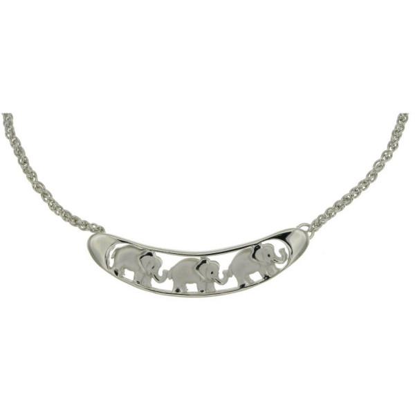 Collier-Kette mit 3 Elefanten mattiert-poliert mit erhobenem Rüssel Glücksbringer massiv echt Silber