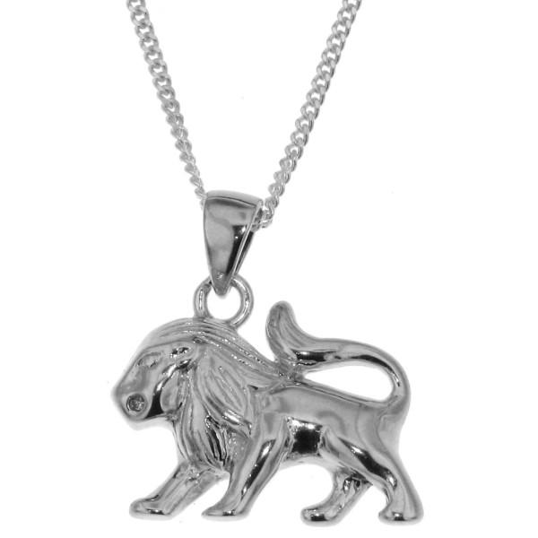 Anhänger Löwe mit Kette Sternzeichen Tierkreiszeichen echt Silber