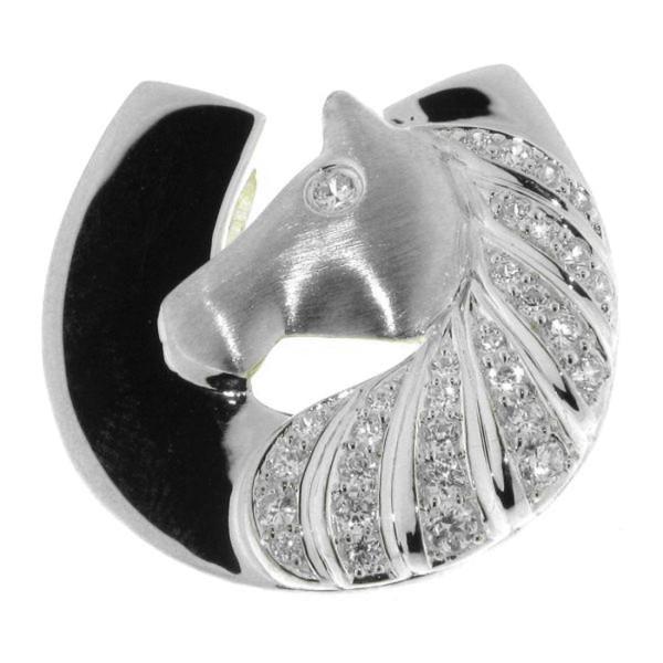 Anhänger Pferdekopf mit Hufeisen modern echt Silber mattiert-poliert mit 31 Zirkoniasteinen