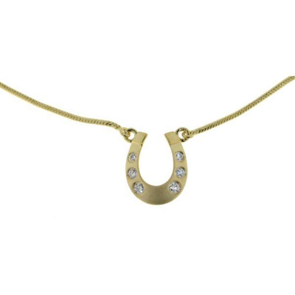 Collier kleines Hufeisen echt Silber goldplattiert mit Zirkonia