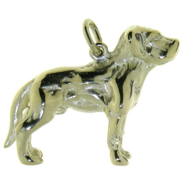 Anhänger Labrador Retriever Hund mit unkupierter Rute schwer massiv echt Gold