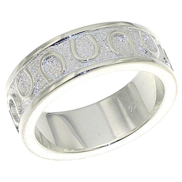 Ring mit umlaufenden Hufeisen schwer massiv echt Silber mattiert-poliert