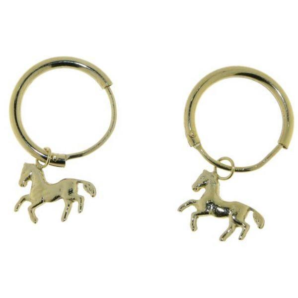 Ohrcreolen Pferdchen echt Silber goldplattiert