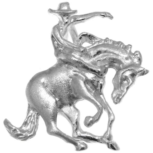 Anhänger Reiter auf Pferd beim Rodeo - Bronco-Reiten echt Silber