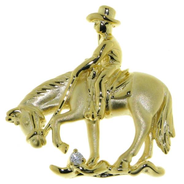 Anhänger Reiter auf Pferd beim Trail Westernreit-Disziplin mattiert - poliert mit Diamant