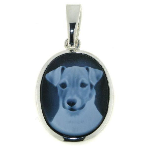 Anhänger Gemme Achat Jack Russel Terrier 20 x 15 mm Kamee