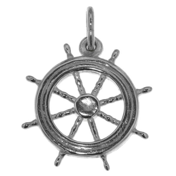 Anhänger Schiff-Steuerrad Yacht Steuerrad massiv echt Silber