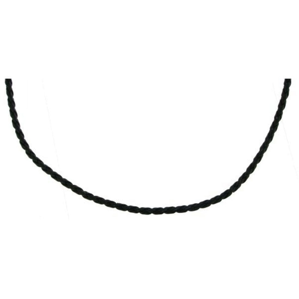 Leder-Collierkette geflochten schwarz
