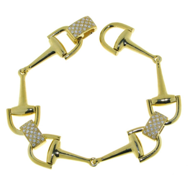 Armband Trensengebisse goldplattiert mit Zirkonia