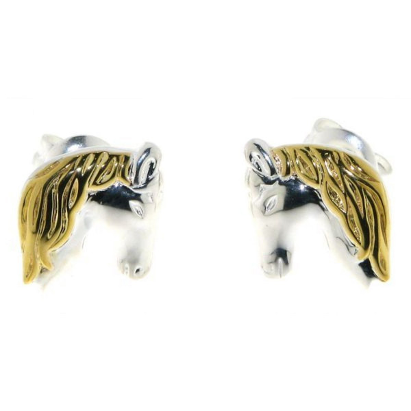 Ohrstecker Pferdekopf klassisch massiv echt Silber mit goldplattierter Mähne