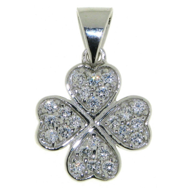 Anhänger Vierblättriges Kleeblatt Glücksbringer massiv echt Silber mit Zirkoniasteinen