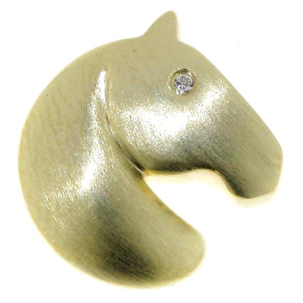 Anhänger Pferdekopf klein modern echt Silber goldplattiert mit Zirkonia Auge
