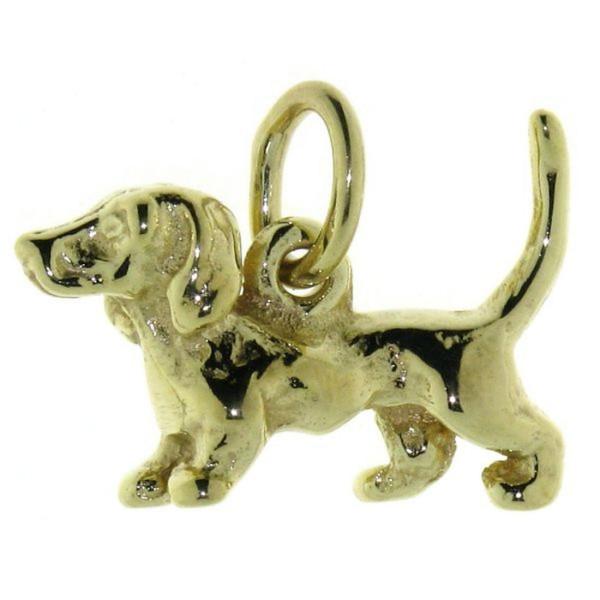 Anhänger Dackel klein Teckel Hunderasse massiv echt Gold