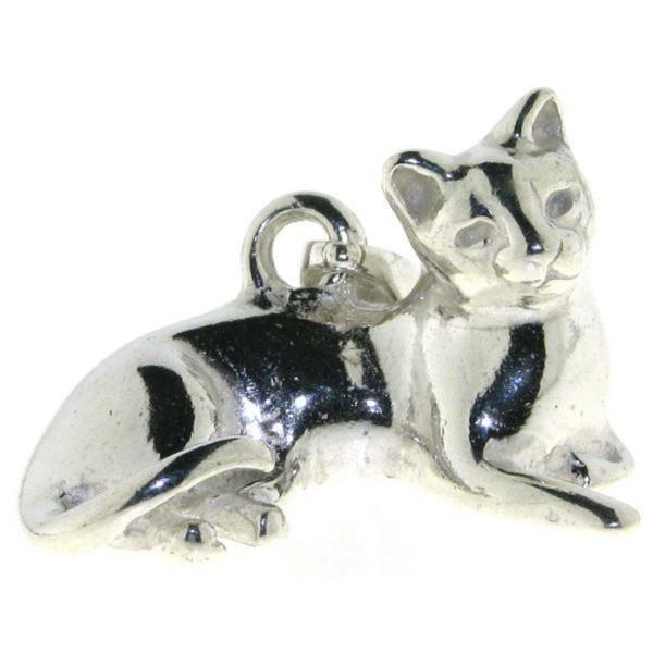 Anhänger Katze Kater Perserkatze Siamkatze liegend schwer massiv echt Silber