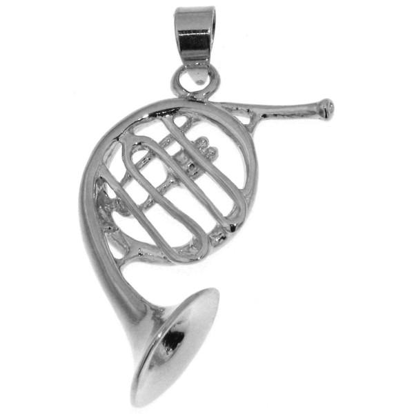 Anhänger Waldhorn Horn Musikinstrument Flügelhorn massiv echt Silber
