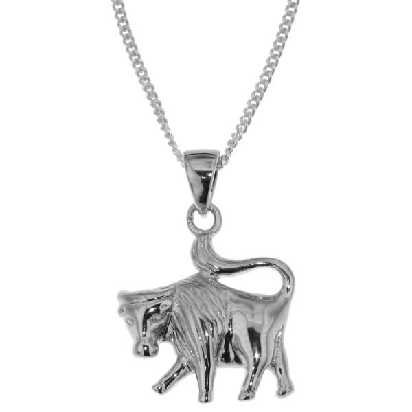 Anhänger Stier Tierkreiszeichen Sternzeichen mit Kette echt Silber