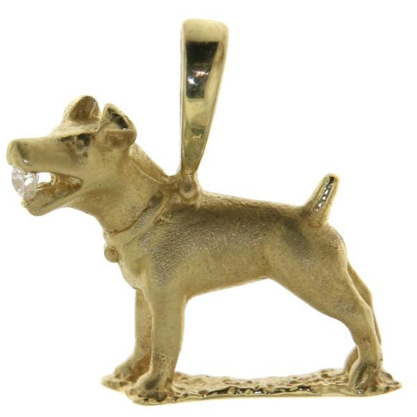 Anhänger Jack Russel Hunderasse massiv echt Gold mit Diamant