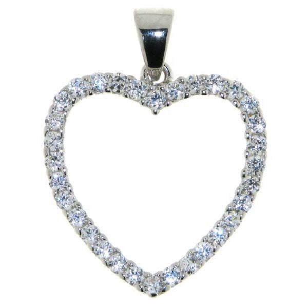Anhänger Herz Zirkonia-Herz echt Silber Silberherz