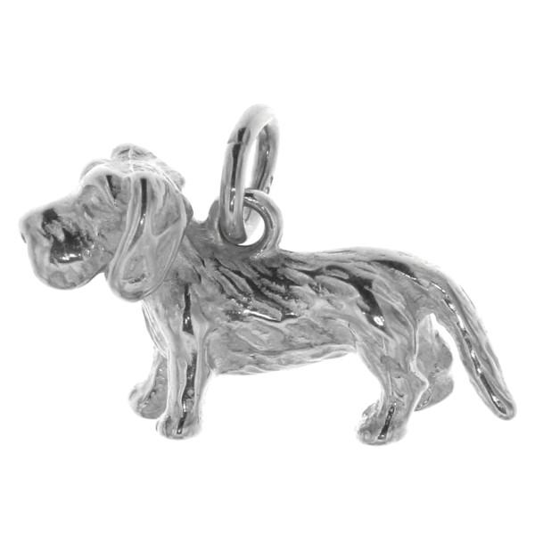 Anhänger Rauhhaardackel Hunderasse klein massiv echt Silber