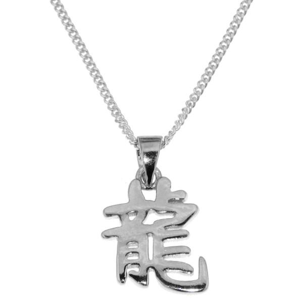 Anhänger Drache Chinesisches Tierkreiszeichen echt Silber mit Kette Sternzeichen