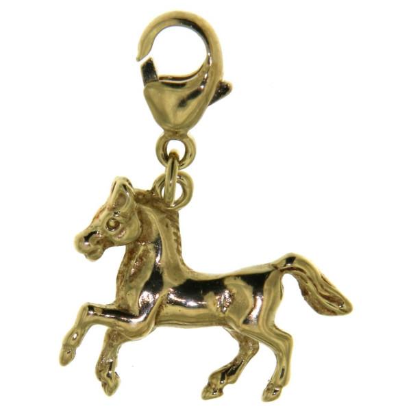 Charm galoppierendes Pferd massiv Echtgold