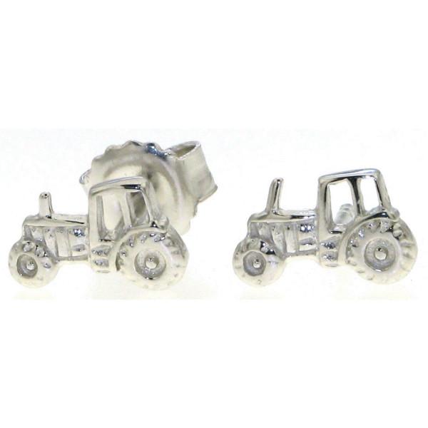 Ohrstecker Traktor Trecker Schlepper Bulldog als Paar Ohrring massiv echt Silber
