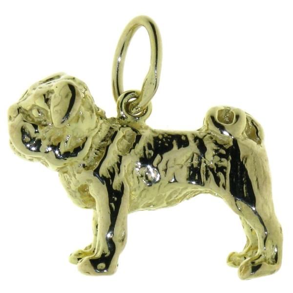 Anhänger Englische Bulldogge Hunderasse schwer massiv echt Gold