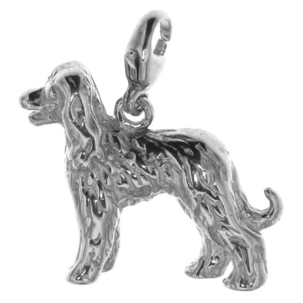 Charm Afghane Afghanischer Windhund Hunderasse massiv echt Silber