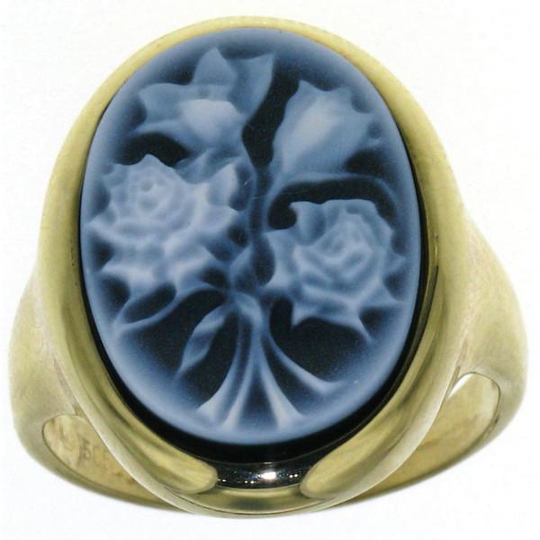Ring Gemme Achat 18 x 13 mm mit Rosenstrauß Kamee