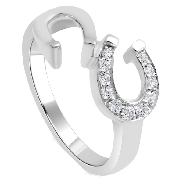 Ring Doppelhufeisen massiv echt Silber mit Zirkonia