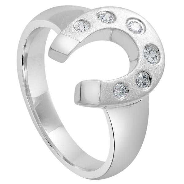 Ring Hufeisen mit Zirkonia massiv echt Silber