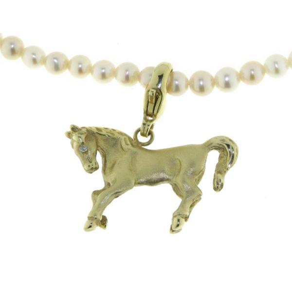 Anhänger Pferd mit Karabiner mattiert-poliert und Diamantauge