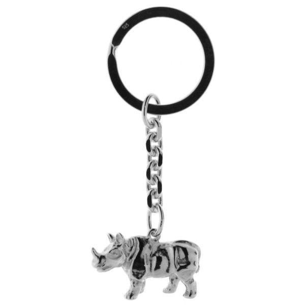 Schlüsselanhänger Nashorn Rhinozeros massiv echt Silber