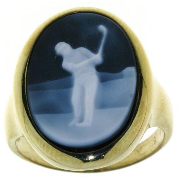 Ring Gemme Achat Golfspieler Golfsport 18 x 13 mm Kamee