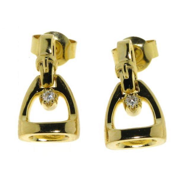 Ohrstecker Steigbügel klein mit Bügelriemen und Diamant Gelbgold