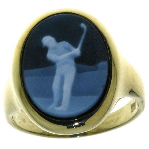 Ring Gemme Achat Golfspieler Golfsport 16 x 12 mm Kamee