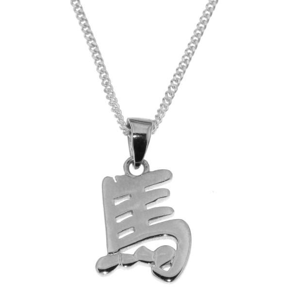 Anhänger Pferd Chinesisches Tierkreiszeichen echt Silber mit Kette Sternzeichen